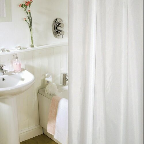Duschvorhang weiß 120x200 cm Stoff Textil Beschwerungsband /& Ringen weiss Dusche