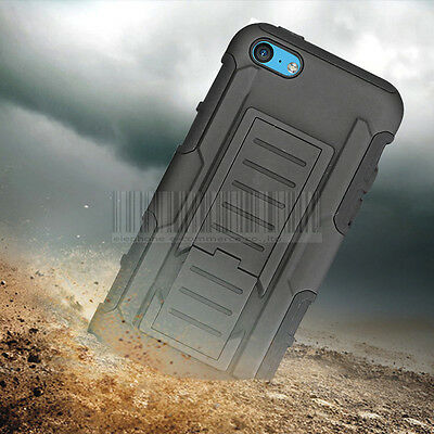 Rugged Hybrid Armor Impact Case Hard Cover Holster Stand For Apple iPhone 5C