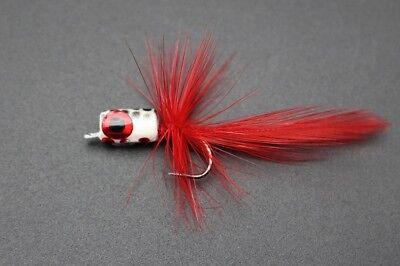 12 pcs 6 colors Hackle Body Tail Foam Head Popper Bass Fly Fishing Flies Lures