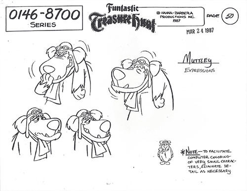 DICK DASTARDLY /& MUTTLEY 10-PAGE SET OF MODEL SHEETS WITH MULTIPLE IMAGES