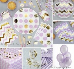 Purple Lilac Pink Gold Baby Shower Party Decorations Tableware