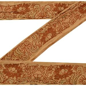 Sanskriti Vintage Sari Border Craft Brown Trim Hand Embroidered Sewing Lace Antiques Linens & Textiles (pre-1930)