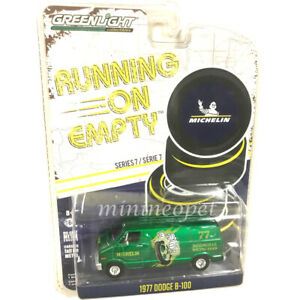 GREENLIGHT-41070-E-1977-DODGE-B-100-VAN-1-64-MICHELIN-TIRES-GREEN-Chase