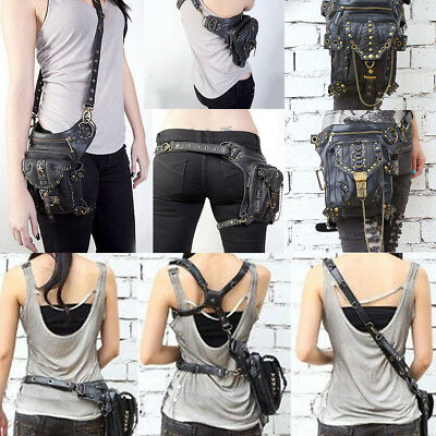 UK Vintage Steampunk Waist leg Hip Holster Pouch Belt Punk Locomotive Bag Purse