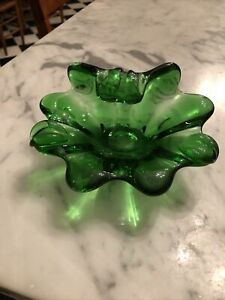 VTG-Green-emerald-Sommerso-Murano-Blown-Art-Glass-Bowl-Ashtray-Italy