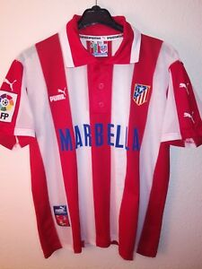 PUMA-vtg-Atletico-de-Madrid-1997-1998-Marbella-soccer-vintage-camiseta-Atleti-90