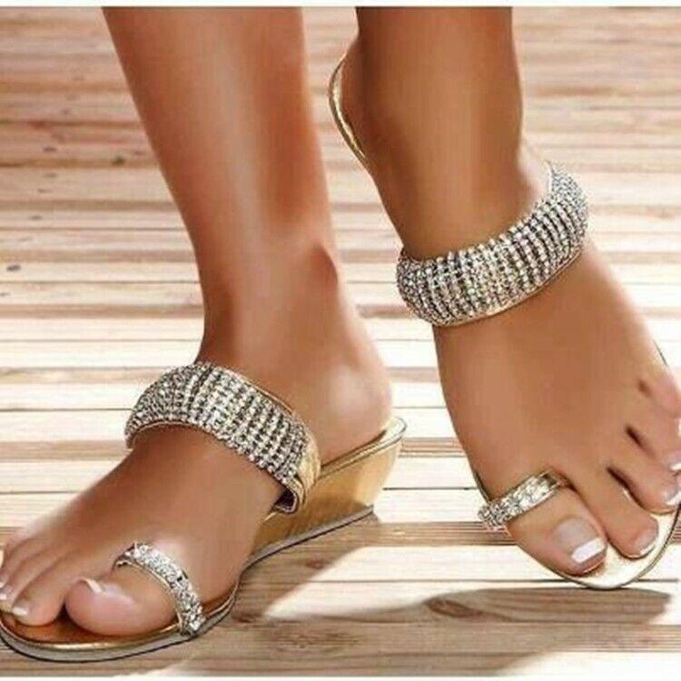 Nuevo moda mujeres Bling Plano sólido Toe resaltar Zapatillas Mulas Mocasines