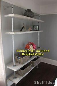 Rustic Industrial Pipe Shelf Storage TV Unit Wall Mount Shelving Brackets BS034C