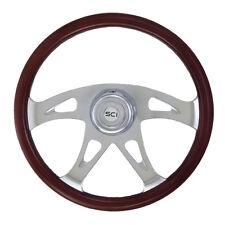 """Peterbilt Kenworth Freightliner 18"""" Steering Wheel Chrome 4 Spoke Ace Wood Rim"""
