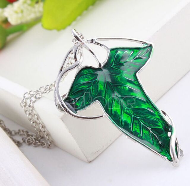 Green Leaf Vintage Lord of The Rings Elven Pin Brooch Pendant Chain Necklace