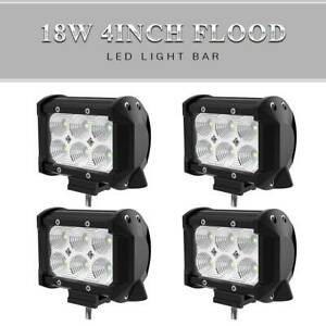 4x 4inch 18W LED Work Light Bar Flood Pods Fog Lamp Offroad Driving Truck ATV