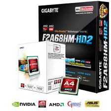 AMD A4 6300 CPU GIGABYTE F2A68HM-HD2 MOTHERBOARD HDMI GAMING UPGRADE BUNDLE