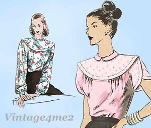 Vogue 6036: 1940s Misses Back Button Blouse Sz 30 B Vintage Sewing Pattern