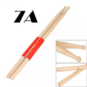 new wood drumsticks a pair drum sticks 7a music band maple ebay. Black Bedroom Furniture Sets. Home Design Ideas