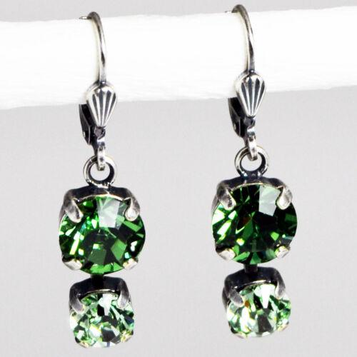 Ohrringe Ohrhänger Silber Altsilber Swarovski Kristall Rund – Erinite – grün