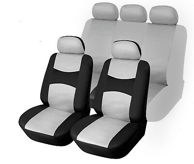 100 /% PU Leather Car 5 Seats Covers 9 Pieces Front /& Rear Full Set 59 Bk//Gray