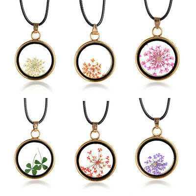 Round Glass Charms Pendant Real Dried Pressed Flower Necklace Transparent CUB