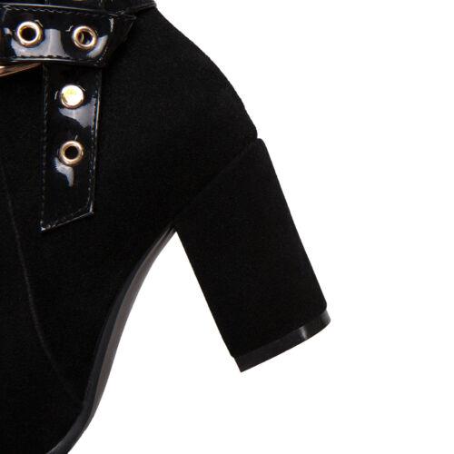 Womens Suede Block Heel Chelsea Ankle Boots Zip Buckle Smart Work Office Shoes