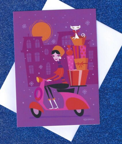 SHAG Josh Agle PINK Scooter Girl WHITE CAT MOON CHRISTMAS XMAS 2014 holiday card