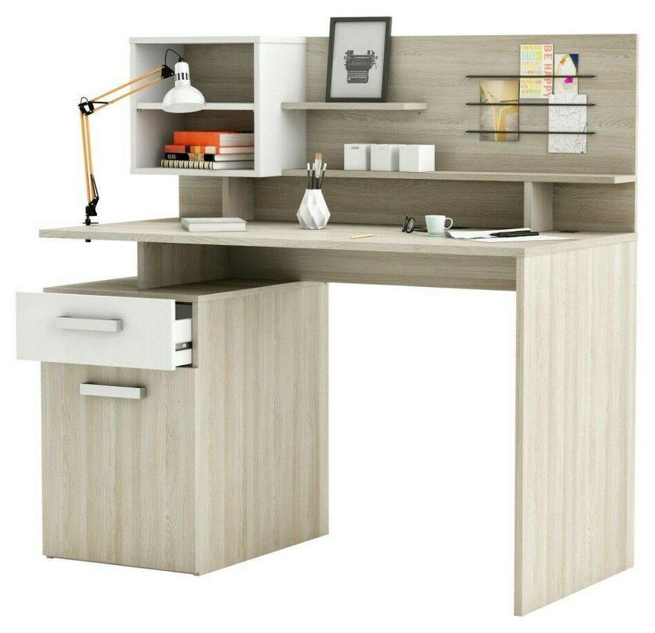 Mesa escritorio Malicia con altillo 1 cajon color roble y blanco 121x123x60...