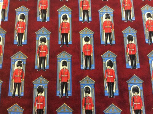 100/% Cotton Fabric Nutex Changing of the Guard Burgundy Britannia