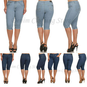 Womens Juniors Plain Blue Stretch Denim Capris Cropped Jeans Plus