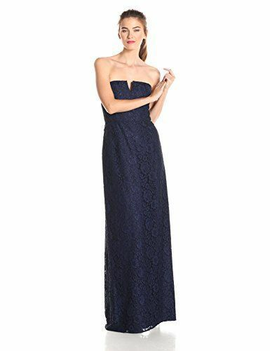 women Morgan Women's Reese Strapless Lace Gown, Indigo, 0