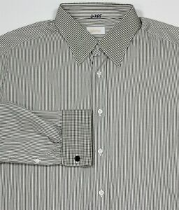 Brioni-Actuel-Modele-Olive-Blanc-Raye-Francais-Manchette-Robe-Chemise-44