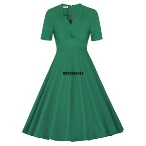 Women-Vintage-Swing-1950s-60s-casual-Pinup-Office-Evening-club-sundress-Dress