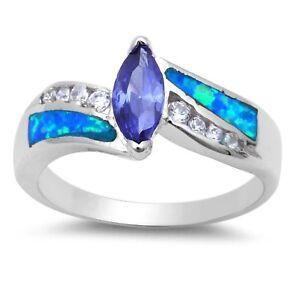 Tanzanita-Marquesita-Imitacion-Diamantes-Azul-opalo-de-Fuego-Anillo-Plata-de-Ley