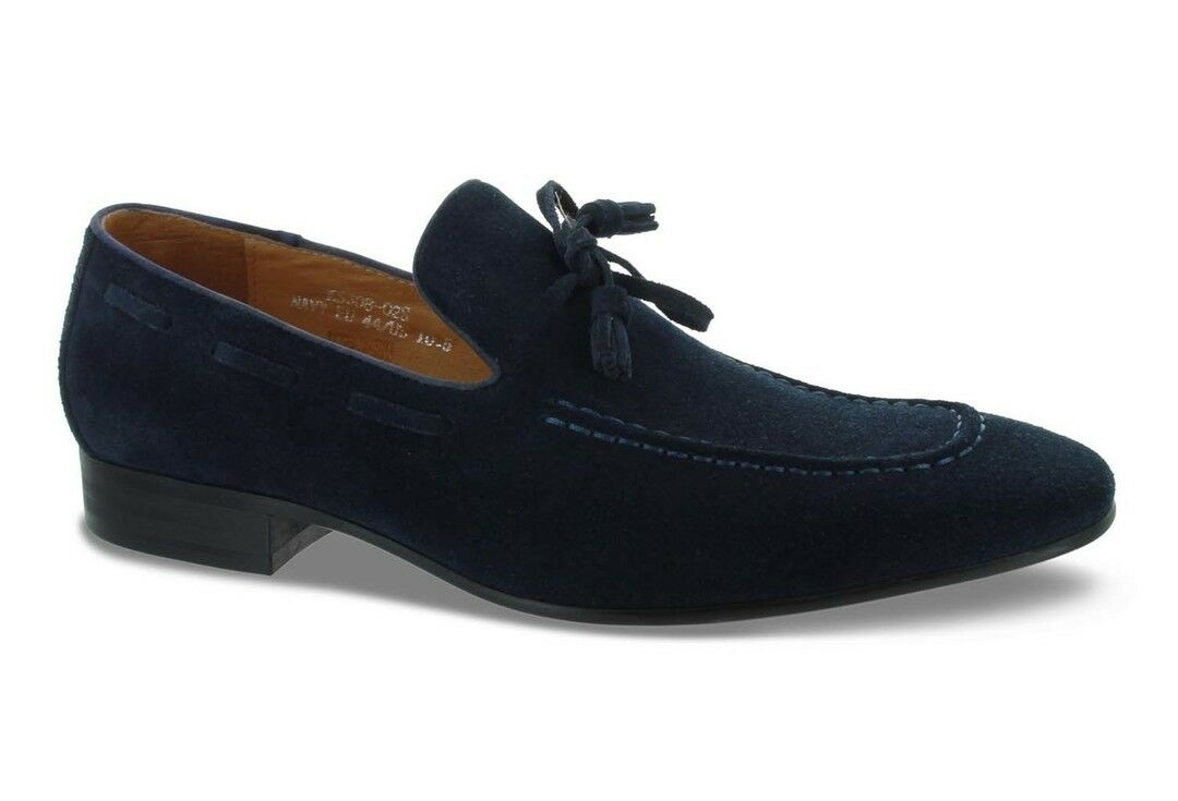 Carrucci Navy bluee Suede Tassel Loafer shoes KS308-02S