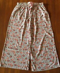 PETER-ALEXANDER-Red-Pink-Flower-Floral-Cotton-3-4-Length-PJ-Sleep-Pajama-Pants-S