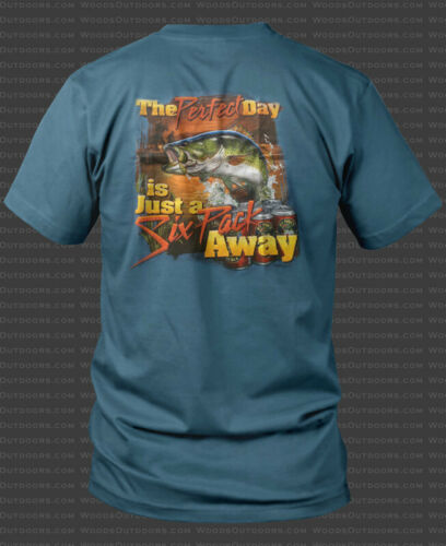 """/""""The Perfect Day Is Just A Six Pack Away/"""" Largemouth Bass Fishing T-Shirt"""