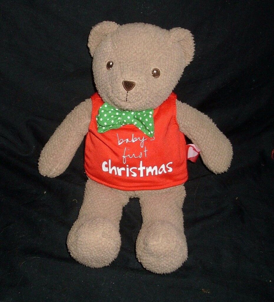 12  BABY'S FIRST CHRISTMAS BROWN TEDDY BEAR MESSAGE STUFFED ANIMAL PLUSH TOY