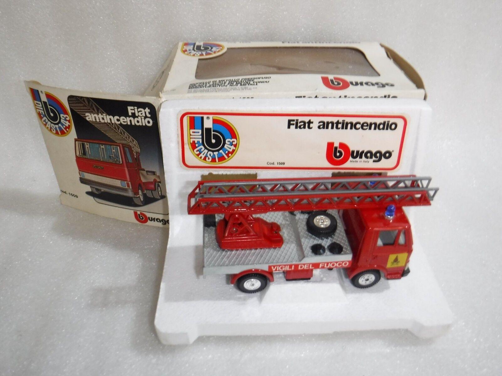 VINTAGE Bburago FIAT 50 NC antincendio vigili del fuoco in rosso, in scatola, raro