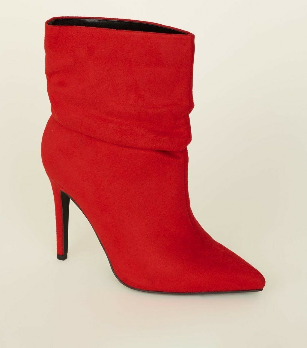 NEW LOOK Wide Fit Red Suedette Stiletto Slouch Boots BNWT