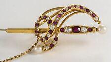 ANTIQUE 19th CENTURY 14K GOLD DIAMOND RUBY & PEARL JABOT SWORD PIN