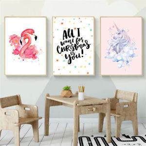 1x-Watercolor-Flamingo-Unicorn-Unframed-Canvas-Art-Poster-Prints-Kids-Room-Decor