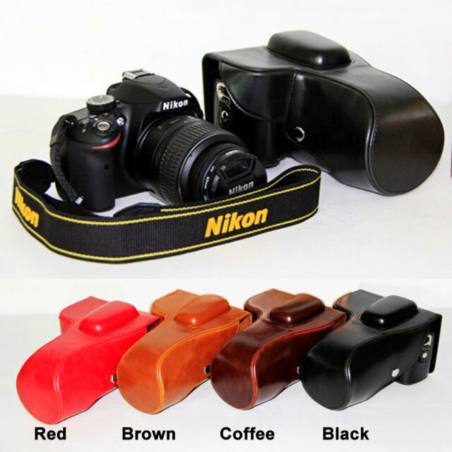 Leather Camera case bag Grip For Nikon D3100 D3200 D3300 With 18-55mm Lens