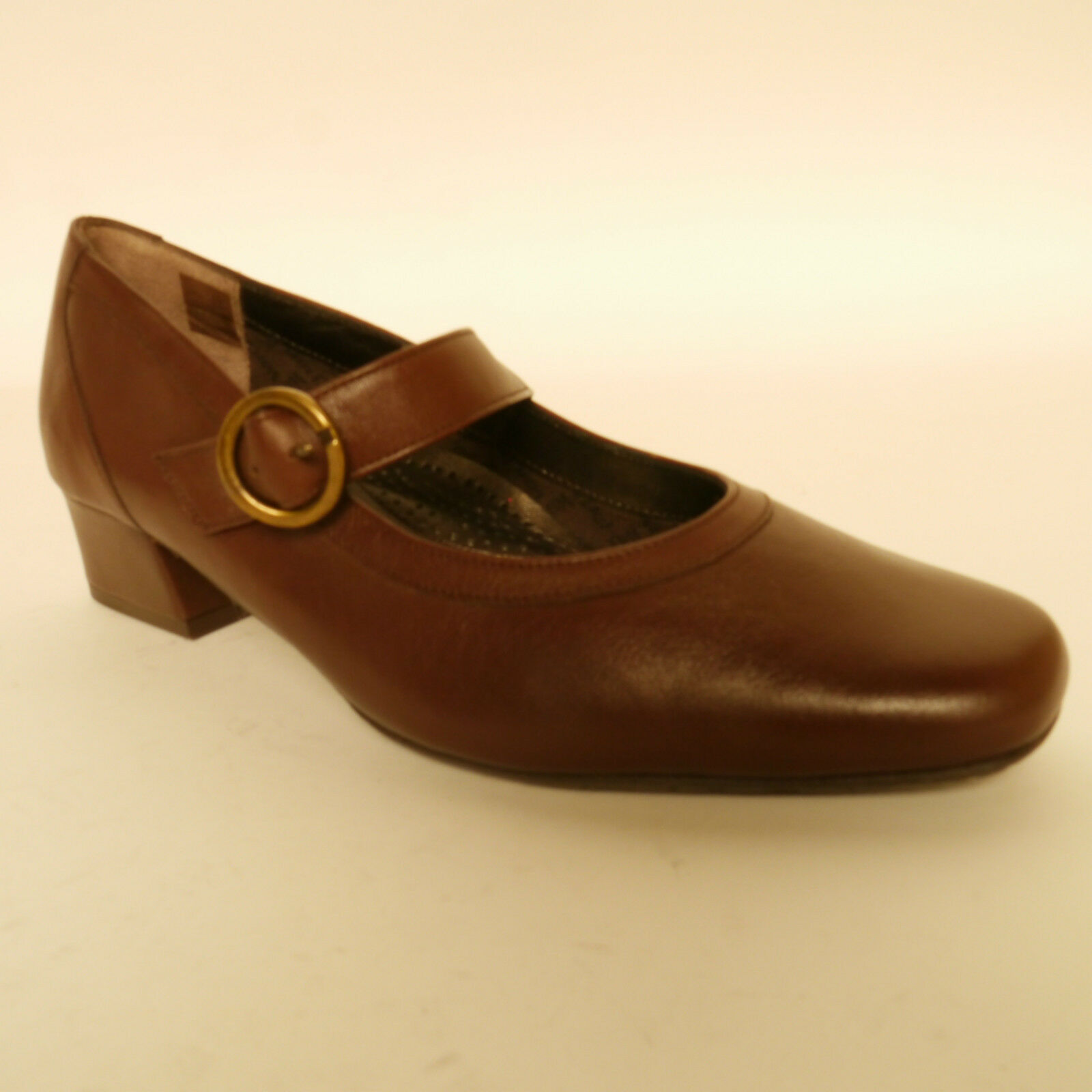 Van Dal Jump Mary Jane Court Shoes Brown Leather EE Fitting