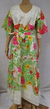 Vintage 70s Dress Maxi Floral Novelty Bird Painted Tropical Vines Jamaica