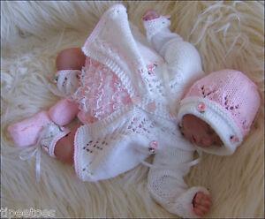 DK-Baby-Girl-Knitting-Pattern-TO-KNIT-Matinee-Set-Lace-Pants-Bonnet-Shoes-Reborn