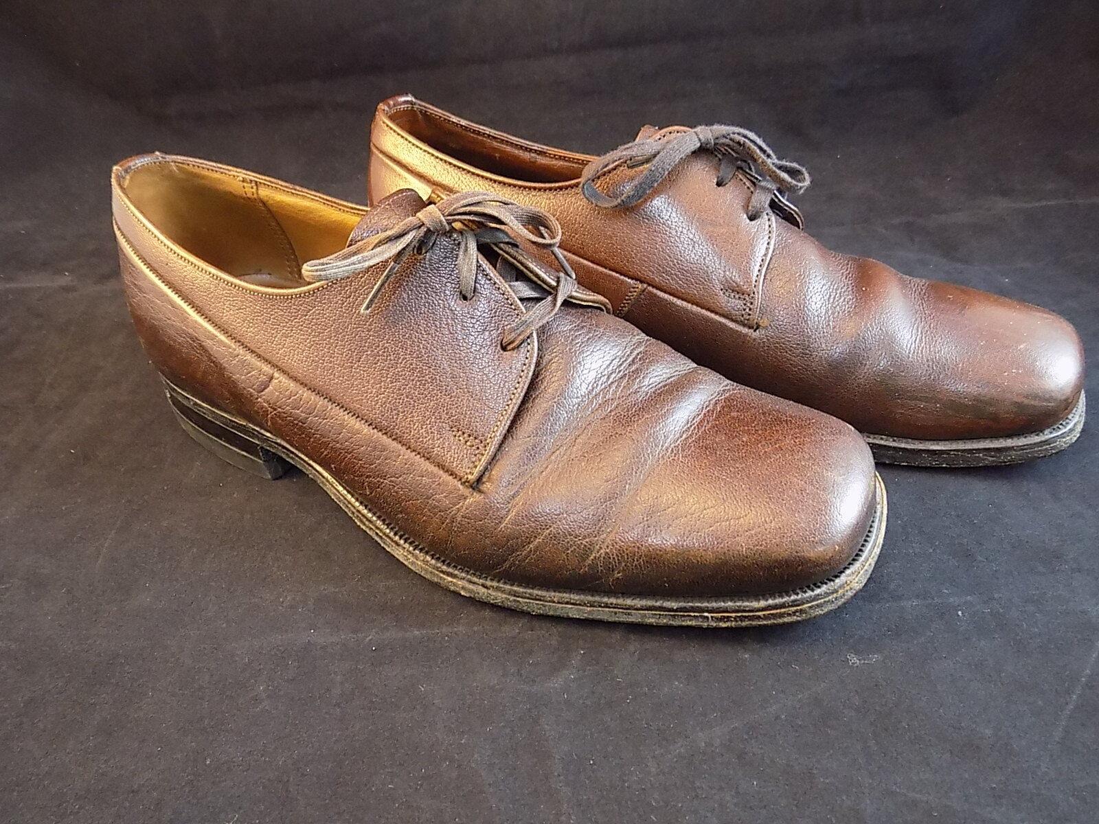 MENS LACE UP DRESS SHOE FLORSHEIM BROWN LEATHER shoes size 7E WIDE