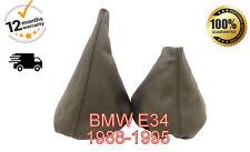 WHITE STITCH MANUAL GRAPHITE SUEDE GEAR HANDBRAKE GAITER FOR BMW E34 1988-1995