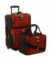 Travel Select Amsterdam Two Piece Carry-on Luggage Set Orange Free Shipping