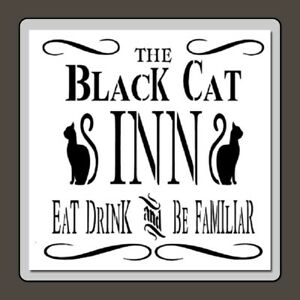 10-X-10-BLACK-CAT-INN-Sign-Craft-STENCIL-Vinatge-Halloween-Cats-Swirls-Novelty