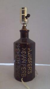 Vintage A Jasper's Indian herb Health Tonic Table Lamp Jug Atlanta 1853