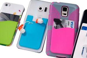 Credit Card Holder for iPhone Women & Men's Phone Stick on Silicone Wallet