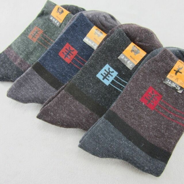 1 Pairs Men's Fashion Full Thick Wool Blend Winter Warm Crew Socks One Size