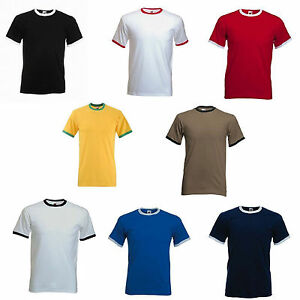 Fruit-of-The-Loom-Plain-Ringer-Cotton-t-shirt-Two-Tone-Contrast-Tee-Sale-Shirt